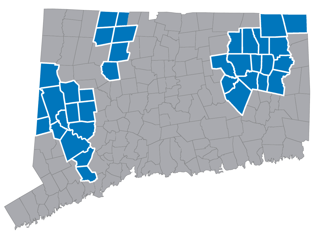 Image of State of CT with Towns Highlighted