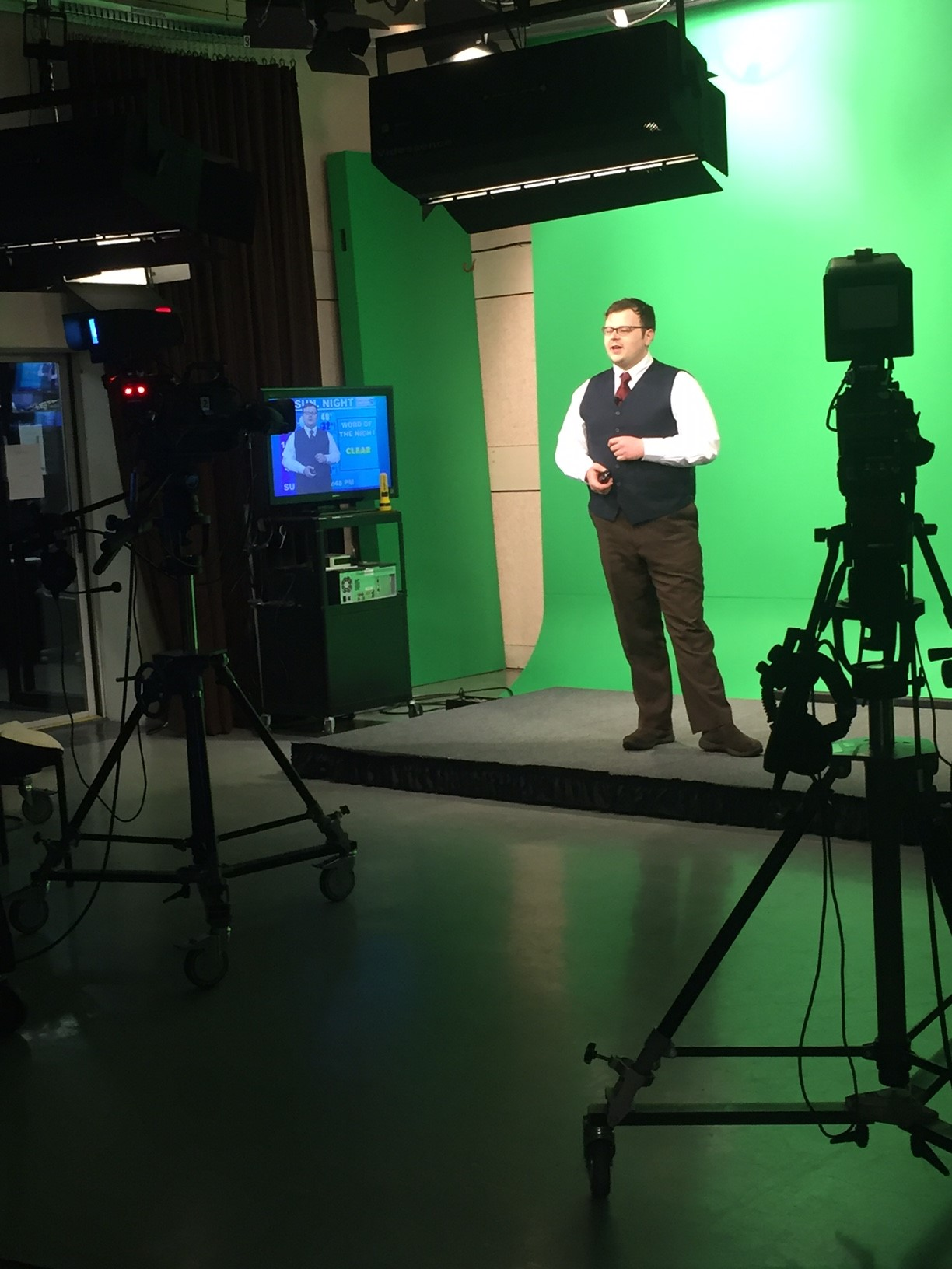 Photo of a Man Using the Green Screen in Western Connecticut